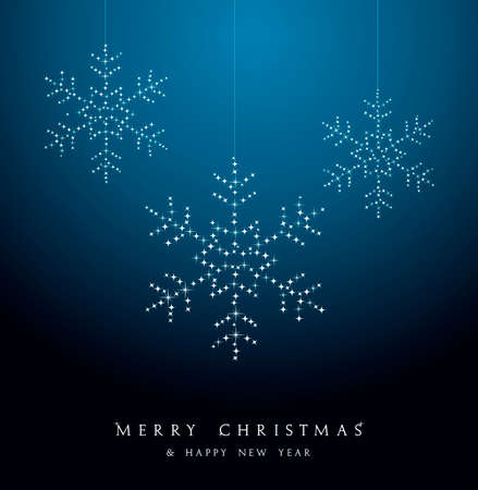Merry Christmas hanging snowflakes luxury decoration. Vector file organized in layers for easy editing. Vector