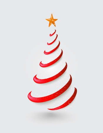 abstracto: Feliz Navidad abstracta roja silueta del árbol con la ilustración de la estrella del oro. Archivo de vectores con transparencia organizado en capas.