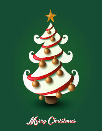 Merry Christmas tree decoration elements composition. vector file with transparency organized in layers. Vector