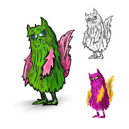 freak: Halloween Monsters spooky hand drawn isolated hairy freak set. EPS10 vector file organized in layers for easy editing. Illustration