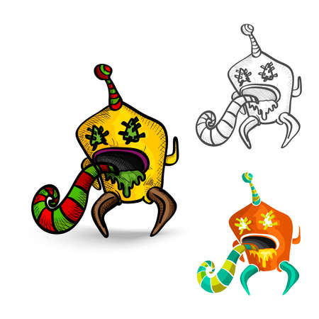 basic candy: Halloween Monsters spooky hand drawn isolated freak creatures set. EPS10 vector file organized in layers for easy editing.