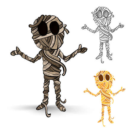 Halloween monsters isolated spooky hand drawn mummies set. EPS10 vector file organized in layers for easy editing.
