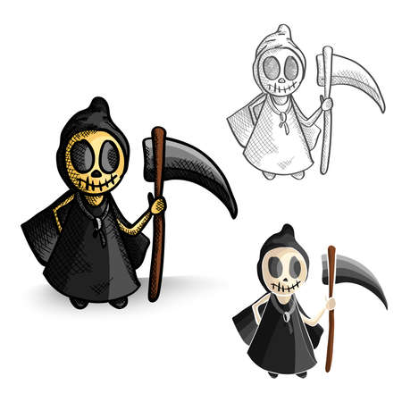 Halloween Monsters isolated spooky hand drawn grim reapers set. EPS10 vector file organized in layers for easy editing. Vector