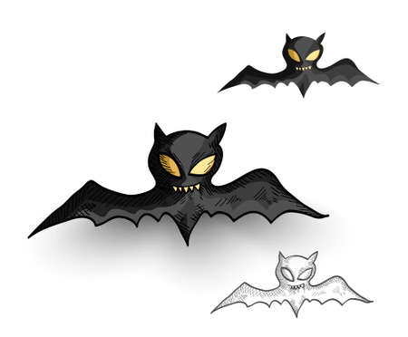 basic candy: Halloween Monsters isolated spooky hand drawn vampire bats set. EPS10 vector file organized in layers for easy editing.