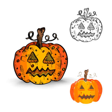 cursed: Halloween Monsters isolated spooky hand drawn pumpkin lanterns set. EPS10 vector file organized in layers for easy editing.