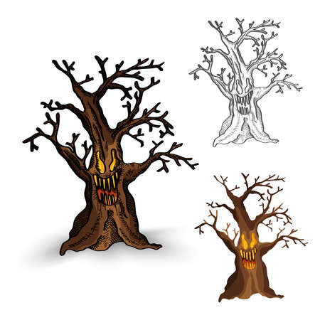 basic candy: Halloween Monsters isolated spooky hand drawn haunted tree set. EPS10 vector file organized in layers for easy editing.