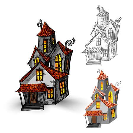 casita de dulces: Monstruos de Halloween aislado mano fantasmal elaborado set casa embrujada. EPS10 archivo vectorial organizado en capas para facilitar la edici�n. Vectores