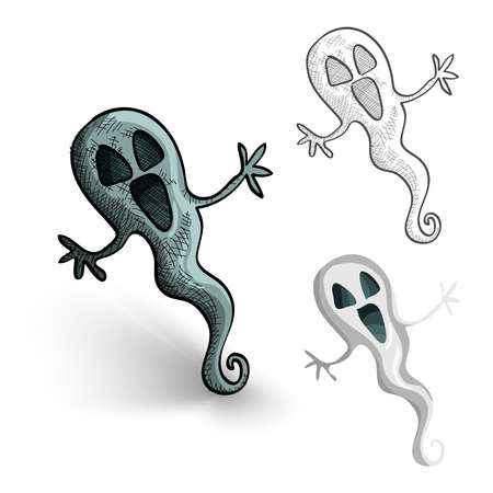 cursed: Halloween Monsters isolated spooky hand drawn ghosts set. EPS10 vector file organized in layers for easy editing.