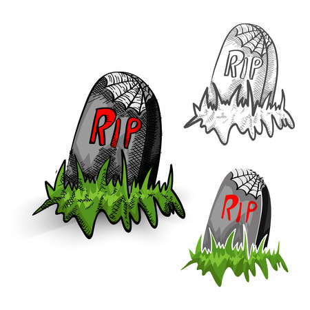 cursed: Halloween Monsters isolated spooky hand drawn cemetery tombstones set. EPS10 vector file organized in layers for easy editing.