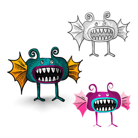 cursed: Halloween Monsters isolated spooky hand drawn weird creatures set. EPS10 vector file organized in layers for easy editing.