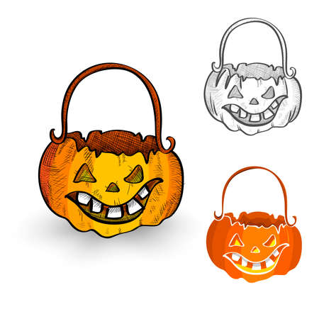 cursed: Halloween Monsters isolated spooky hand drawn pumpkin cauldrons set. EPS10 vector file organized in layers for easy editing.