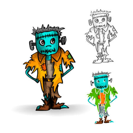 cursed: Halloween Monsters isolated spooky hand drawn zombie man set. EPS10 vector file organized in layers for easy editing. Illustration