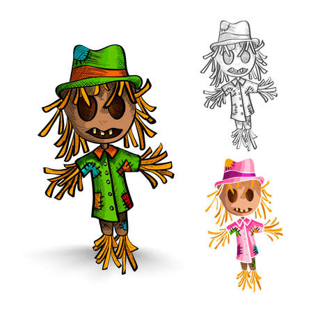 cursed: Halloween Monsters isolated spooky hand drawn scarecrow mans set. EPS10 vector file organized in layers for easy editing.