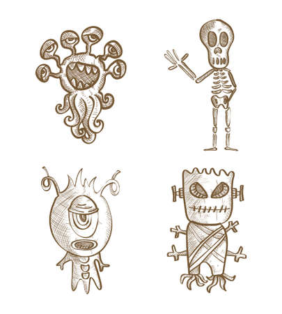 Halloween Monsters isolated spooky hand drawn freak creatures set. EPS10 vector file organized in layers for easy editing.
