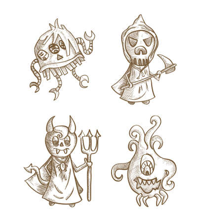 basic candy: Halloween classic monsters isolated spooky hand drawn creatures set. EPS10 vector file organized in layers for easy editing. Illustration