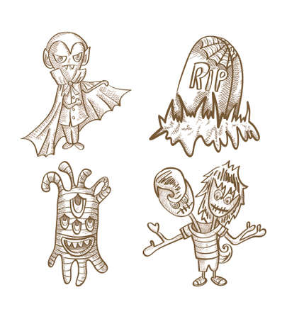 basic candy: Halloween Monsters isolated spooky hand drawn classic creatures set. EPS10 vector file organized in layers for easy editing. Illustration