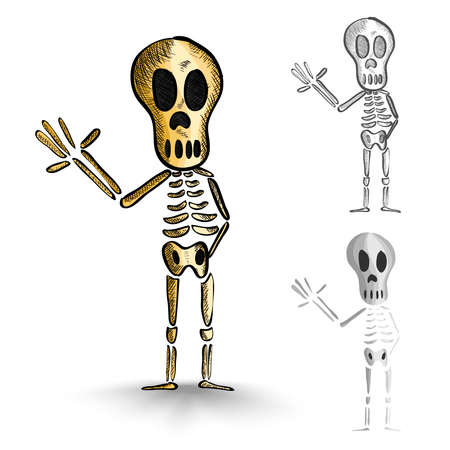 basic candy: Halloween Monsters isolated spooky hand drawn human skeletons set. EPS10 vector file organized in layers for easy editing. Illustration