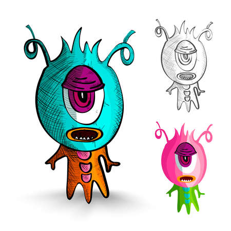 one eyed: Halloween Monsters isolated spooky hand drawn one eyed freaks set. EPS10 vector file organized in layers for easy editing. Illustration