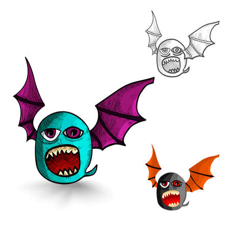 cursed: Halloween Monsters isolated spooky hand drawn winged creatures set. EPS10 vector file organized in layers for easy editing. Illustration