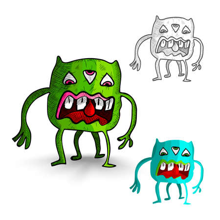basic candy: Halloween Monsters isolated spooky hand drawn freak creatures set. EPS10 vector file organized in layers for easy editing.