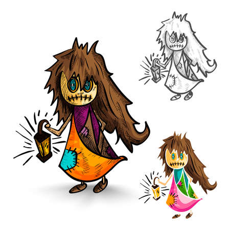 cursed: Halloween Monsters isolated spooky hand drawn freak witches set. EPS10 vector file organized in layers for easy editing.  Illustration