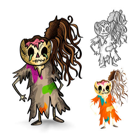 Halloween Monsters isolated spooky hand drawn freak zombies set. EPS10 vector file organized in layers for easy editing. Vector