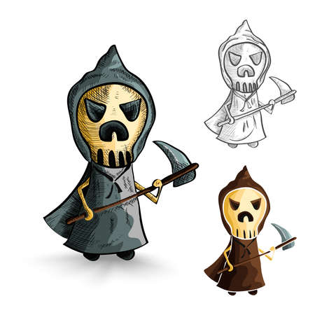 cursed: Halloween Monsters isolated spooky hand drawn grim reapers set. EPS10 vector file organized in layers for easy editing. Illustration