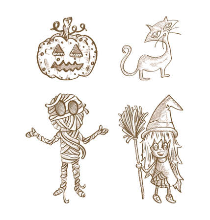 cursed: Halloween classic monsters isolated spooky hand drawn freak creatures set. EPS10 vector file organized in layers for easy editing.