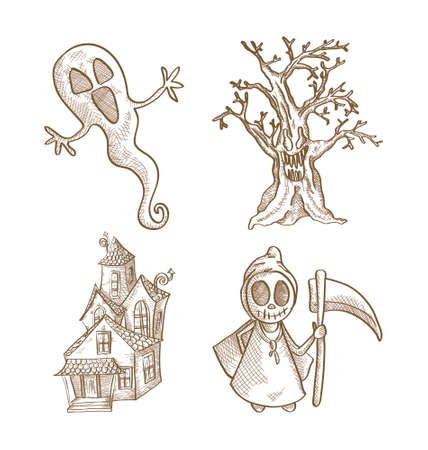 Halloween classic monsters isolated spooky hand drawn freak creatures set. EPS10 vector file organized in layers for easy editing. Vector