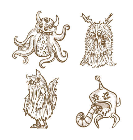 freak: Halloween monsters isolated spooky hand drawn freak creatures set. EPS10 vector file organized in layers for easy editing. Illustration