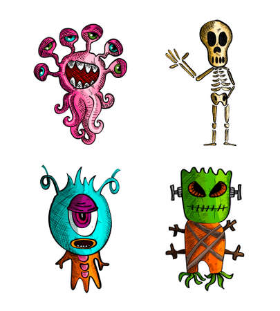 cursed: Halloween Monsters isolated spooky hand drawn creatures set. EPS10 vector file organized in layers for easy editing. Illustration