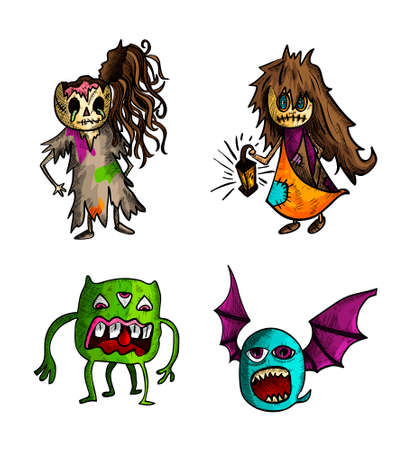 Halloween Monsters isolated spooky hand drawn freaky weird creatures set. EPS10 vector file organized in layers for easy editing. Vector