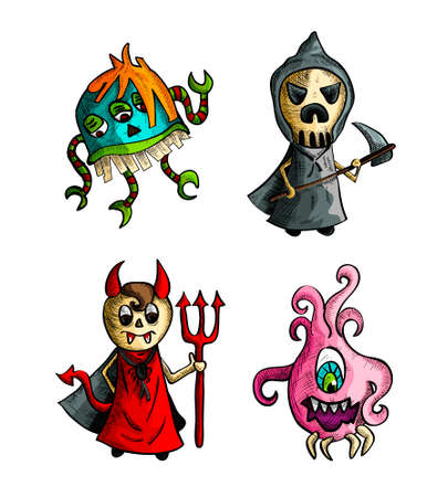 Halloween Monsters isolated spooky hand drawn creatures set. EPS10 vector file organized in layers for easy editing. Vector
