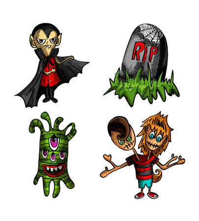 Halloween Monsters isolated spooky hand drawn freak creatures set. EPS10 vector file organized in layers for easy editing. Vector