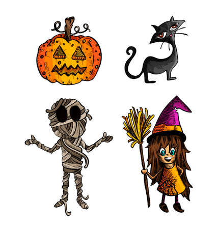 cursed: Halloween Monsters isolated spooky hand drawn classic creatures set. EPS10 vector file organized in layers for easy editing. Illustration