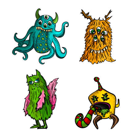 cursed: Halloween Monsters isolated spooky hand drawn weird freak creatures set. EPS10 vector file organized in layers for easy editing. Illustration