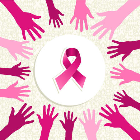 Breast cancer awareness ribbon elements women hands circle shape composition. Vector file organized in layers for easy editing.  Vector