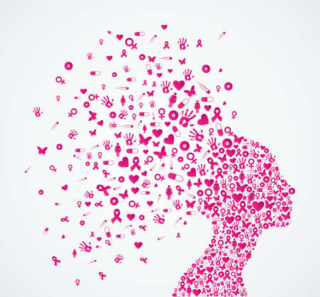 cancer woman: Breast cancer awareness, woman head shape with ribbon care elements splash composition. Vector file organized in layers for easy editing.  Illustration