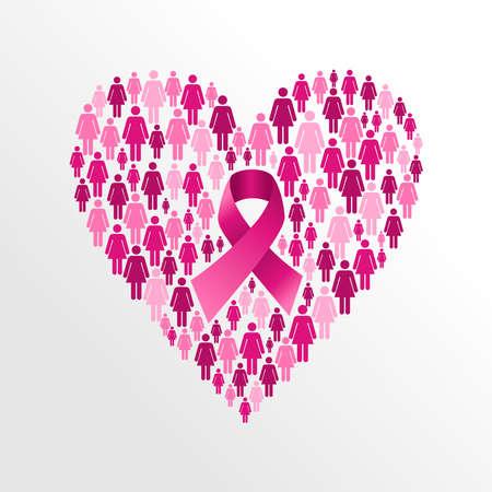 Borstkanker bewustzijn lint elementen vrouwenfiguren hartvorm compositie. Vector dossier georganiseerd in lagen voor eenvoudige bewerking.
