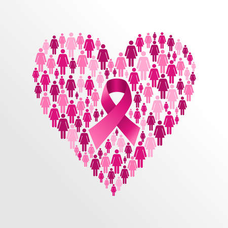 Breast cancer awareness ribbon elements women figures heart shape composition. Vector file organized in layers for easy editing.   Illustration