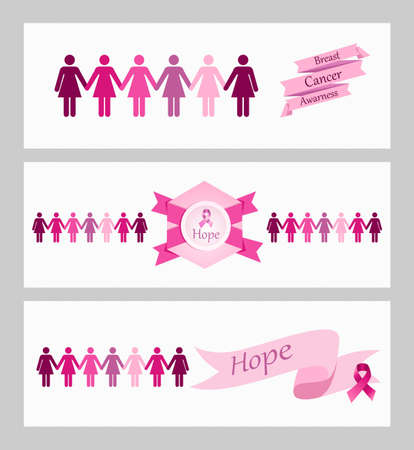Breast cancer awareness ribbon women figures and elements web banners set. Vector file organized in layers for easy editing.  Vector
