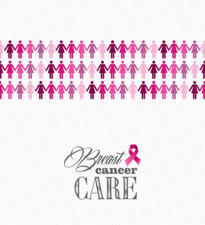 Breast cancer awareness ribbon elements women figures illustration. Vector file organized in layers for easy editing.  Vector