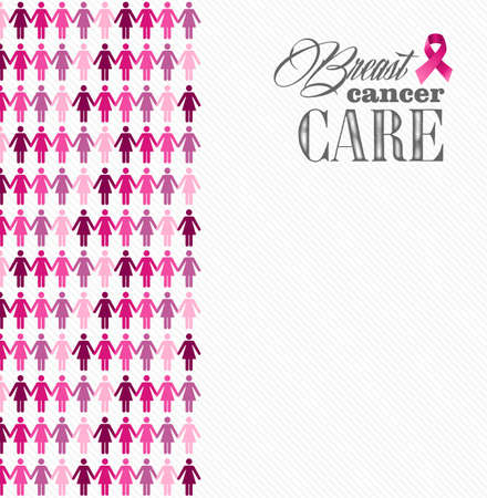 Breast cancer awareness ribbon care elements and women figures composition. Vector file organized in layers for easy editing.  Vector