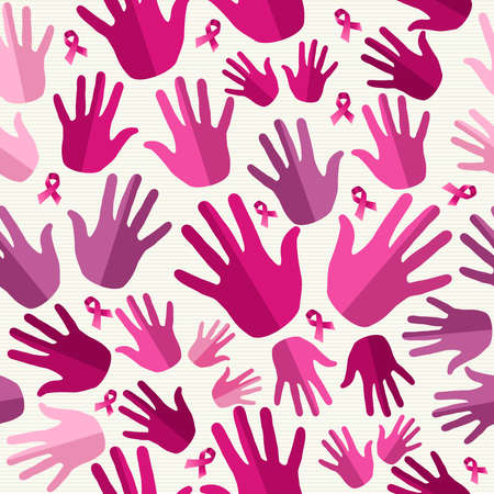 Breast cancer awareness ribbon elements women hands seamless pattern background. Vector file organized in layers for easy editing.   Vector