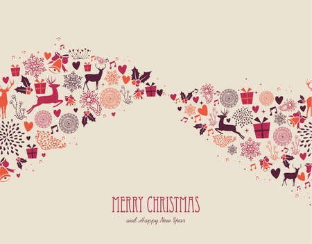 Merry Christmas holiday elements, vintage composition background. Vector file organized in layers for easy editing.  Vector