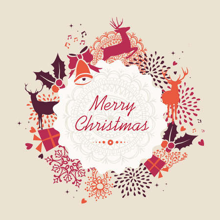 Merry Christmas holiday elements, vintage composition label text background. Vector file organized in layers for easy editing. Vector