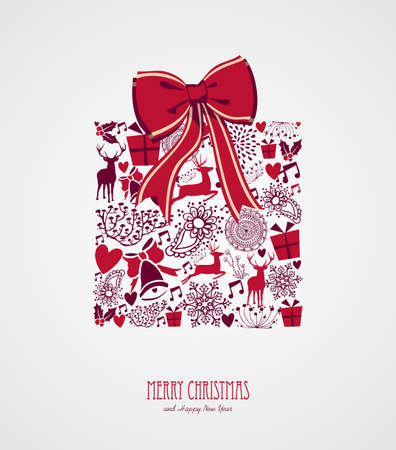 Merry Christmas vintage holiday elements, ribbon gift box shape composition. Vector file organized in layers for easy editing.