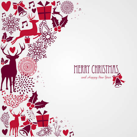 winter holiday background: Merry Christmas holiday vintage elements and text background.Vector file organized in layers for easy editing.