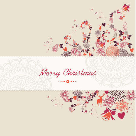 noel: Merry Christmas text guard, vintage season elements background. EPS10 vector file organized in layers for easy editing. Illustration