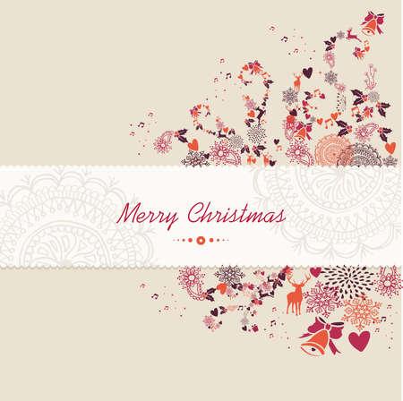 Vrolijk kerstfeest tekst guard, vintage seizoen elementen achtergrond. EPS10 vector bestand georganiseerd in lagen voor eenvoudige bewerking.